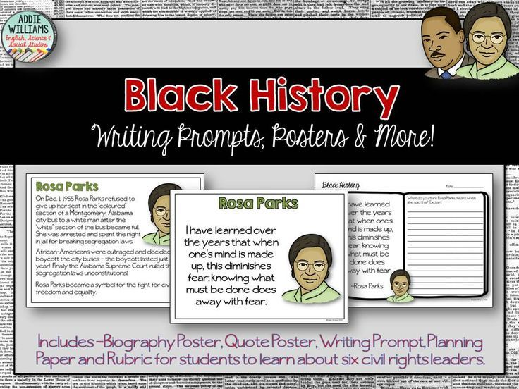 Black History Month Writing Prompts, Quote Posters & More! ($) Includes 6 civil rights leaders!