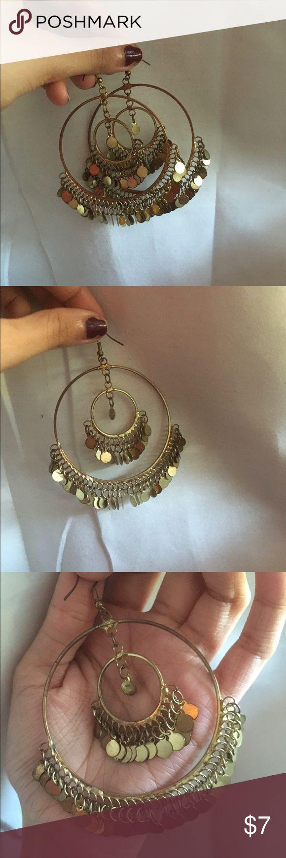 hoop earrings only worn once ✨✨✨ keywords: bollywood, bridal, ethnic, boho, indian, Pakistani, party wear, wedding, fancy, dangling Jewelry Earrings
