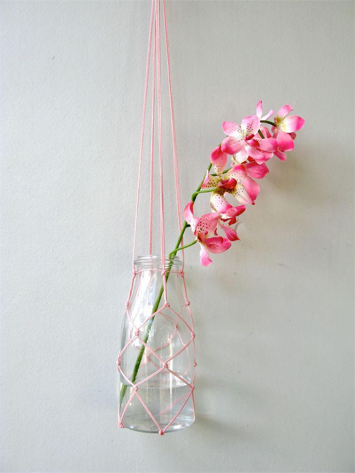 Macrame fishing net flower/plant hanger – vintage inspired milk bottle by Chompa Handmade - $27 This minimalist flower/plant hanger is 90c...
