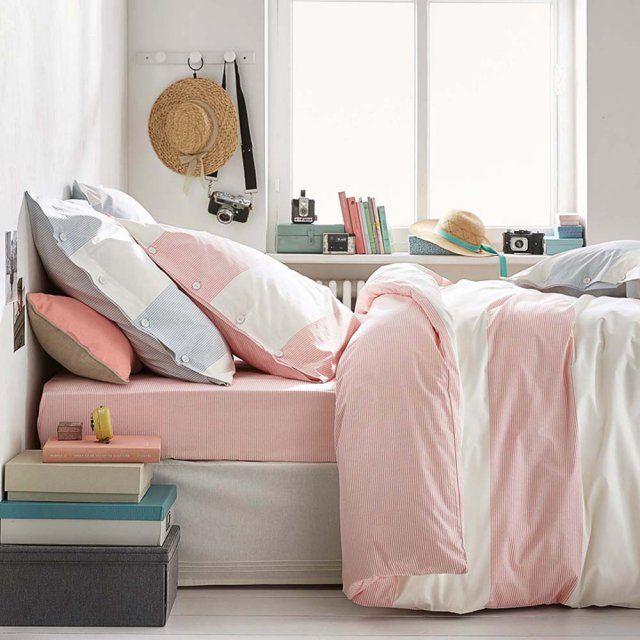 Chambre style borde de mer avec housse de couette rayée Cyrillus / déco bohème/ bedroom/ bed