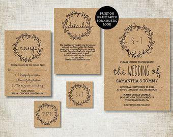 Wedding invitation template, Classic Wreath Wedding Invite printable, Digital PDF, diy simple wedding invitations, editable text