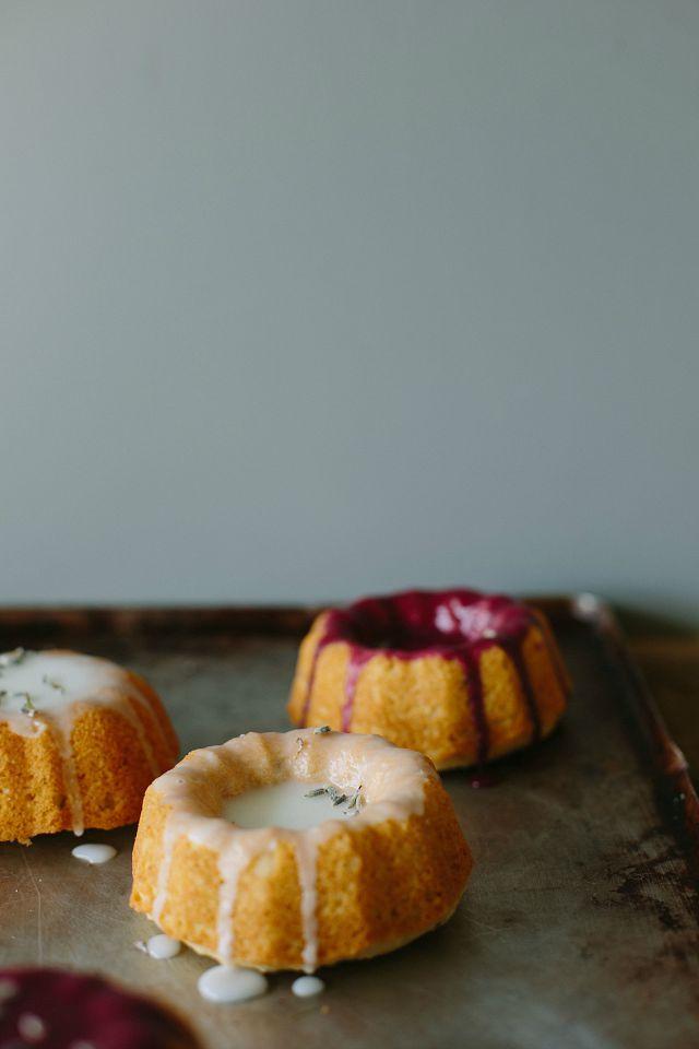my darling lemon thyme: Little lemon + lavender cakes {Gluten-free} + news!