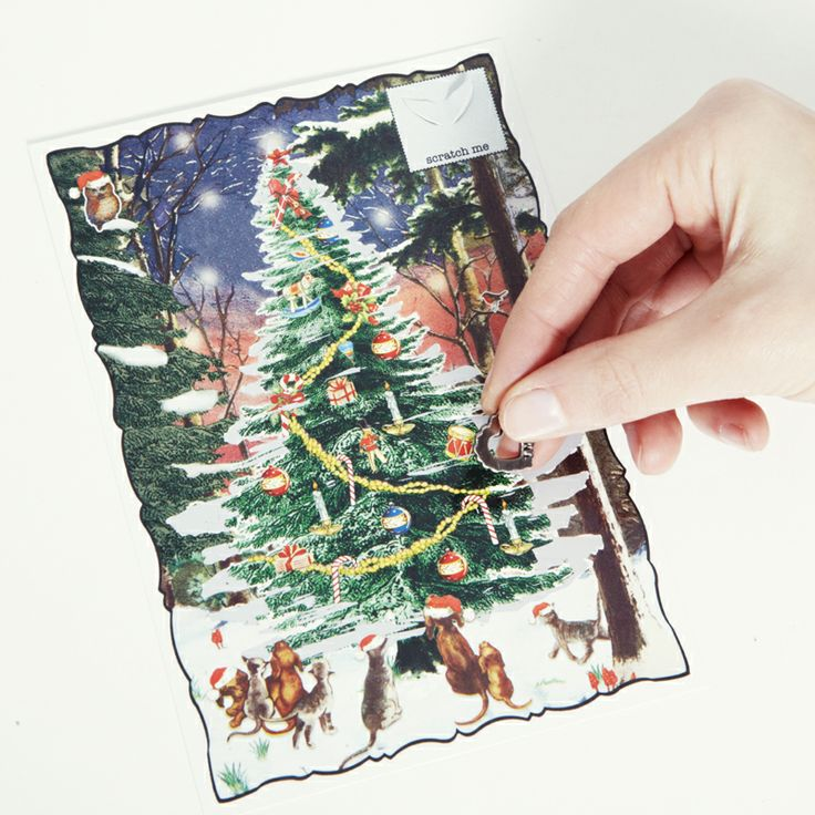Christmas scratchie card  Use the metal charm to scratch off the silver tree to reveal Christmas baubles and decorations  http://tmod.com.au/product/christmas-tree