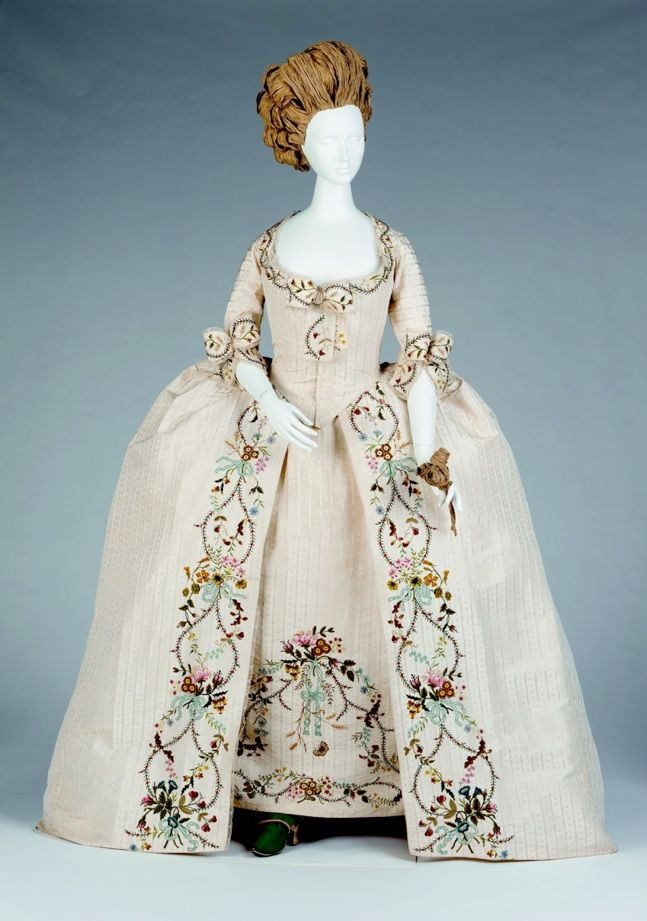 Full Dress (Open Robe and Petticoat), c. 1760s      British    Figured silk with silk floss embroidery    Gift of Arizona Costume Institute, 1987.c.47.a-b