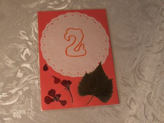 Wedding table numbering cards  pressed leaves by DraculasGarden