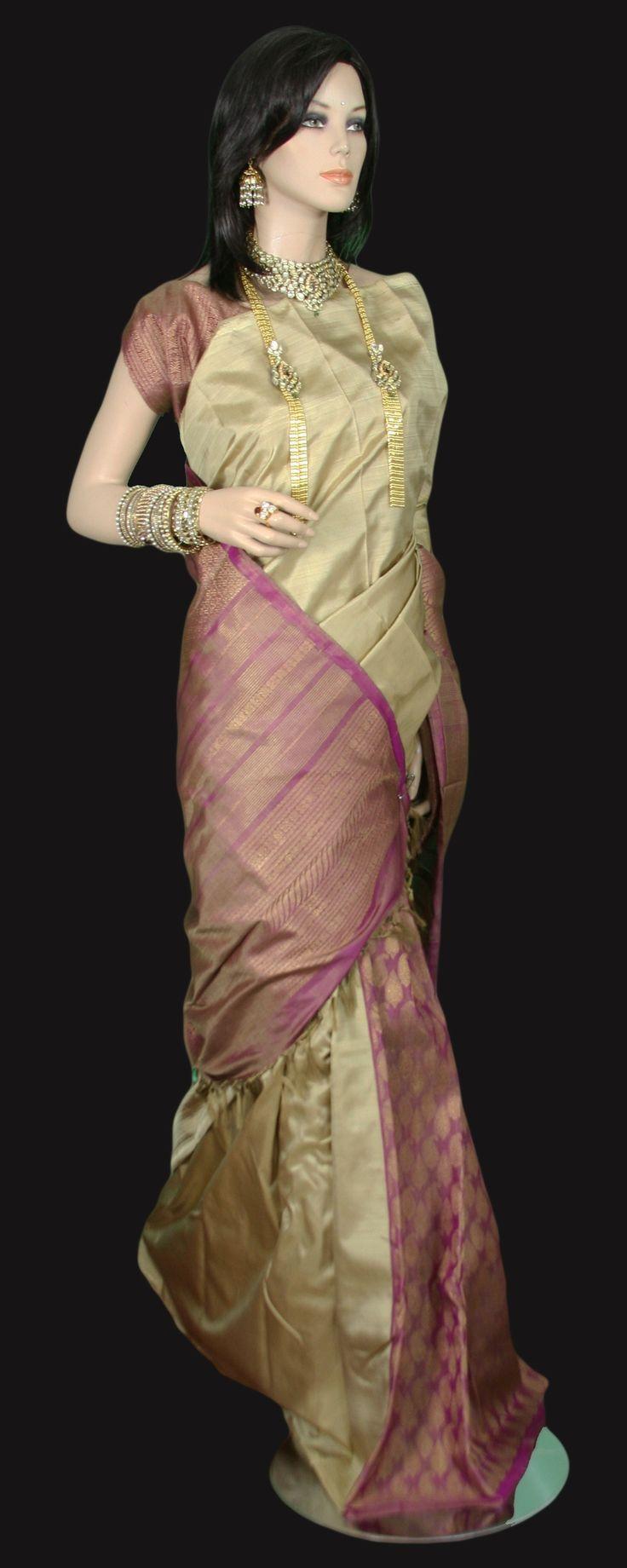 Beige Patli Pallu Zari Gold Kanjeevaram Saree