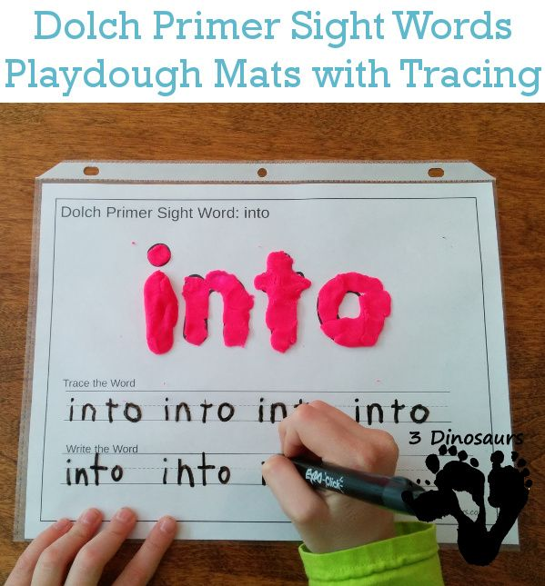 Free Dolch Primer Sight Words Playdough Mats with Tracing - all 52 words - 3Dinosaurs.com