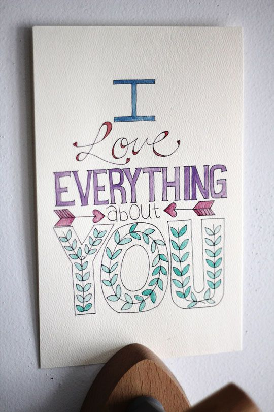 I Love Everything About You Print - Tried & True - Free Coloring Page - Color it to match your decor!