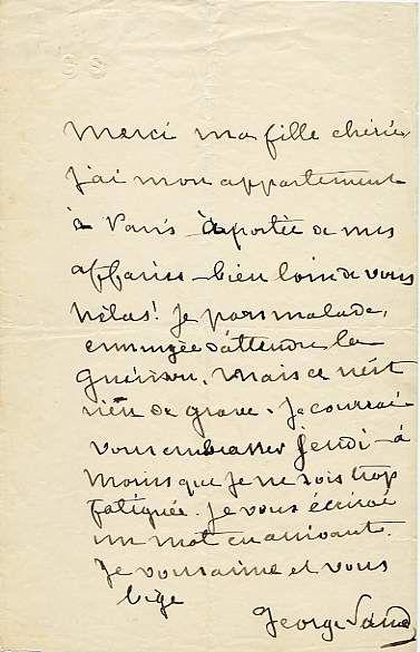 George Sand - lettre à sa fille