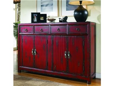 This tall-waisted Asian inspired console features the appeal of a unique size. It has four drawers, four doors with one adjustable shelf and a rich red finish.