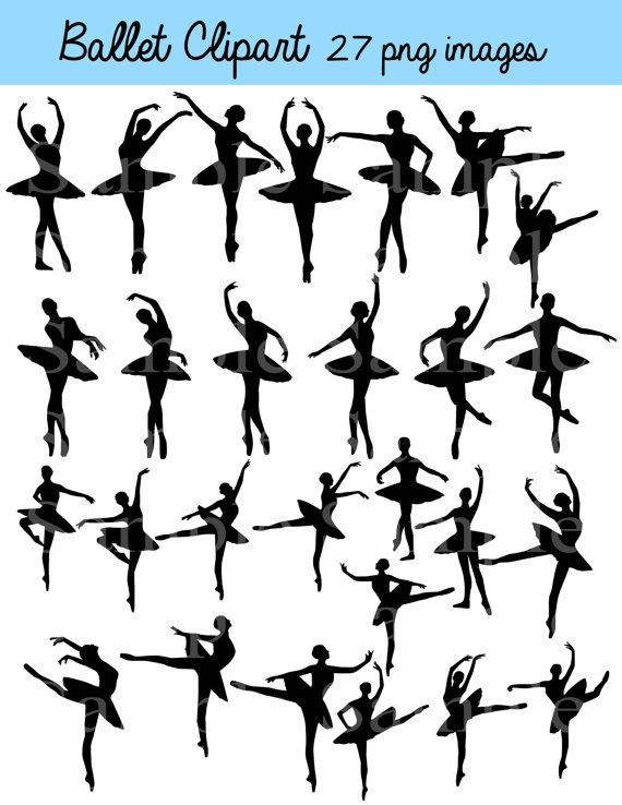 Ballet Silhouette Digital Clipart  INSTANT DOWNLOAD von BridalBust