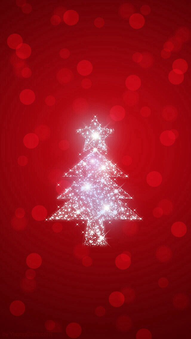 Red bokeh silver christmas tree iphone background phone