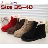 Wish | Hot Women Boots Snow Warm Winter Boots Botas Mujer Lace Up Fur Ankle Boots Ladies Winter Shoes 8 Colors