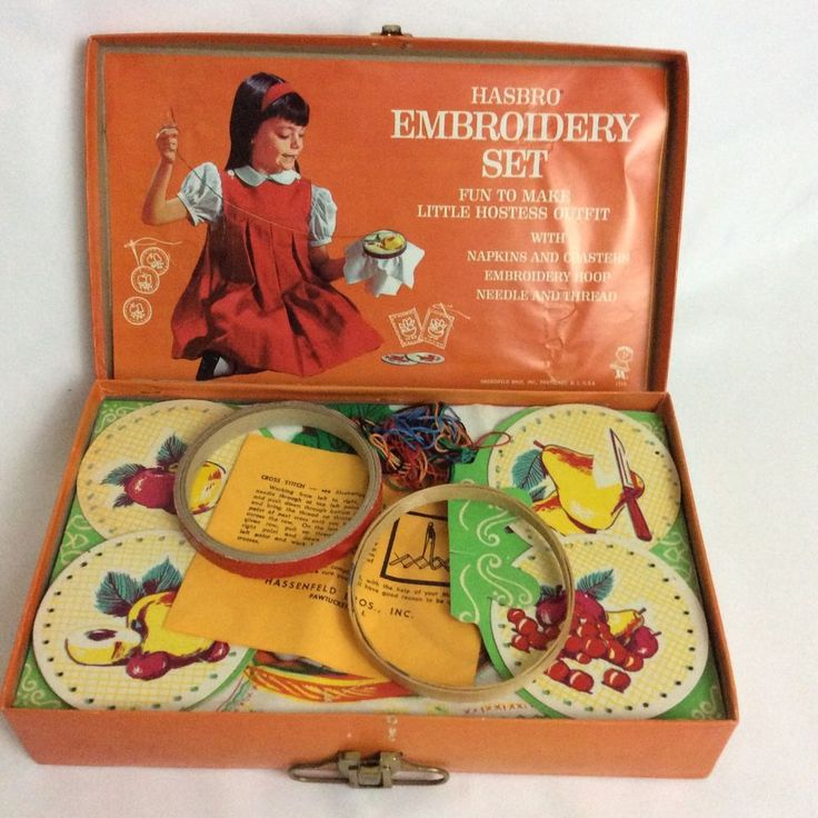 Vintage Hasbro Embroidery Set Hostess Outfit Napkins & Coasters Unused 1518 USA #Hasbro