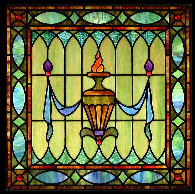 Urn with Drape Stained Glass Window by octobercountry1, via Flickr