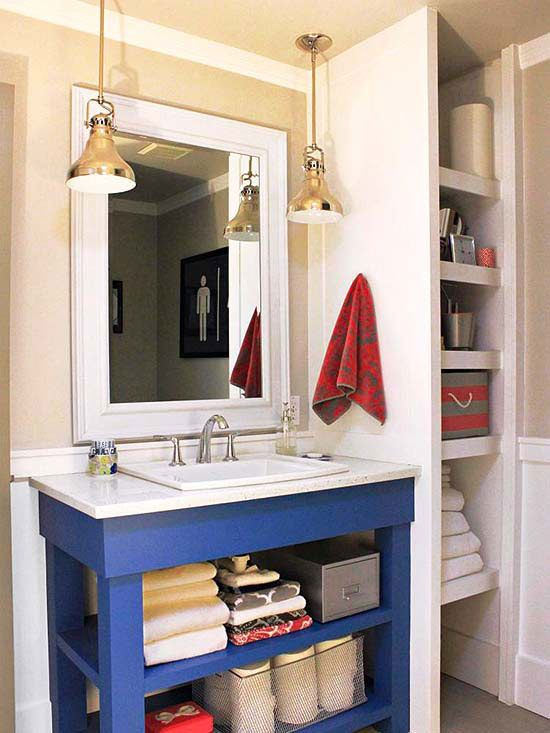 Get rid of bulky vanity, replace with side-shelving and a smaller homemade vanity.