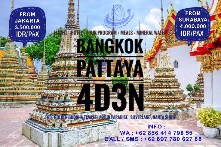 Open Trip to Bangkok-Pattaya 4 day 3 Night. Setiap bulan kami membuka open trip. Harga hanya 3 jutaan saja, anda sudah bisa jalan-jalan ke Bangkok dan Pattaya,