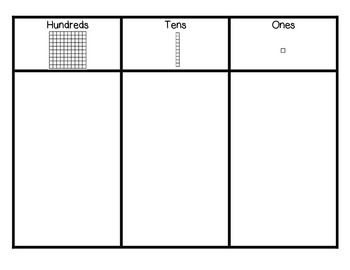 This download includes a hundreds, tens, and ones chart.  It can be laminated to become a reusable workman for your students throughout the year with dry erase markers or place value manipulatives.  Each column has a visual to help students better understand each place value.