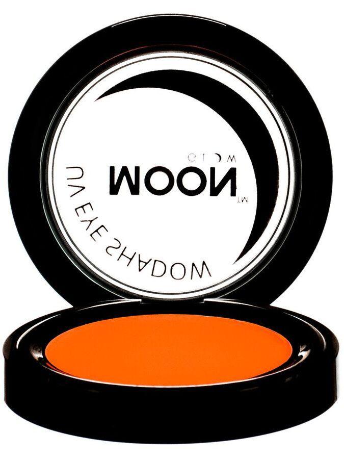 Sombra de ojos naranja fluo UV 3.5 g Moonglow©: Esta sombra de ojos de la marca Moonglow™ es de color naranja fluo y brilla al exponerla a la luz negra UV.El envase mide 5 cm de diámetro.Perfecta para tus maquillajes en fiestas.