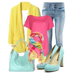 Голубые туфли, джинсы. розовый топ, желтая кофта, голубая сумка, яркий шарфик