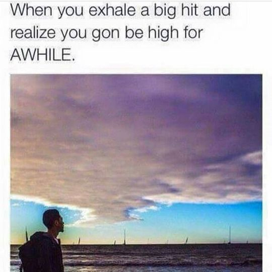 When you exhale a big hit and realize you're gonna be high for awhile. - weed meme memes smoking marijuana