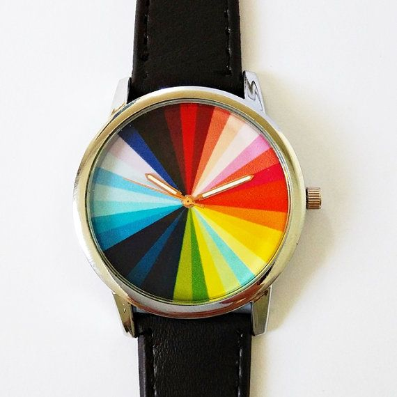 Color Wheel Watch , Vintage Style Leather Watch, Mens Watch, Women Watches, Boyfriend Watch, Leather Watch, Personalized, Unique , Mens Ships Worldwide Type: Quartz Adjustable from 16.5 cm to 20.3 cm (6.50 inches to 8.0 inches) . If you want additional holes for adjustment, please make a note upon checkout or send me a convo Display: Analog Dial Window Material: Glass Case Material: Metal Case Diameter: 3.9 cm (1.53 inches) Case Thickness: 0.7 cm (0.27 inches) Band Material: quality…