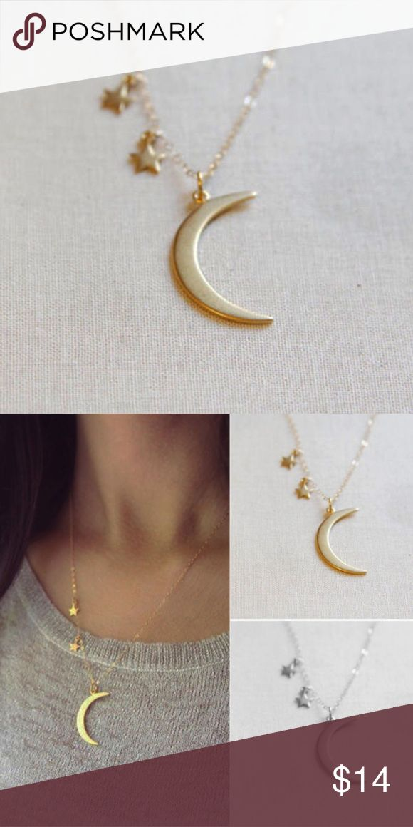 Crescent moon star pendant necklace Make this cute dainty necklace part of your jewelry collection. 🌙⭐️ only 2 available! Act now! (PRICE IS FIRM) 🚫no trades.. not nasty gal, tagged for exposure Nasty Gal Jewelry Necklaces