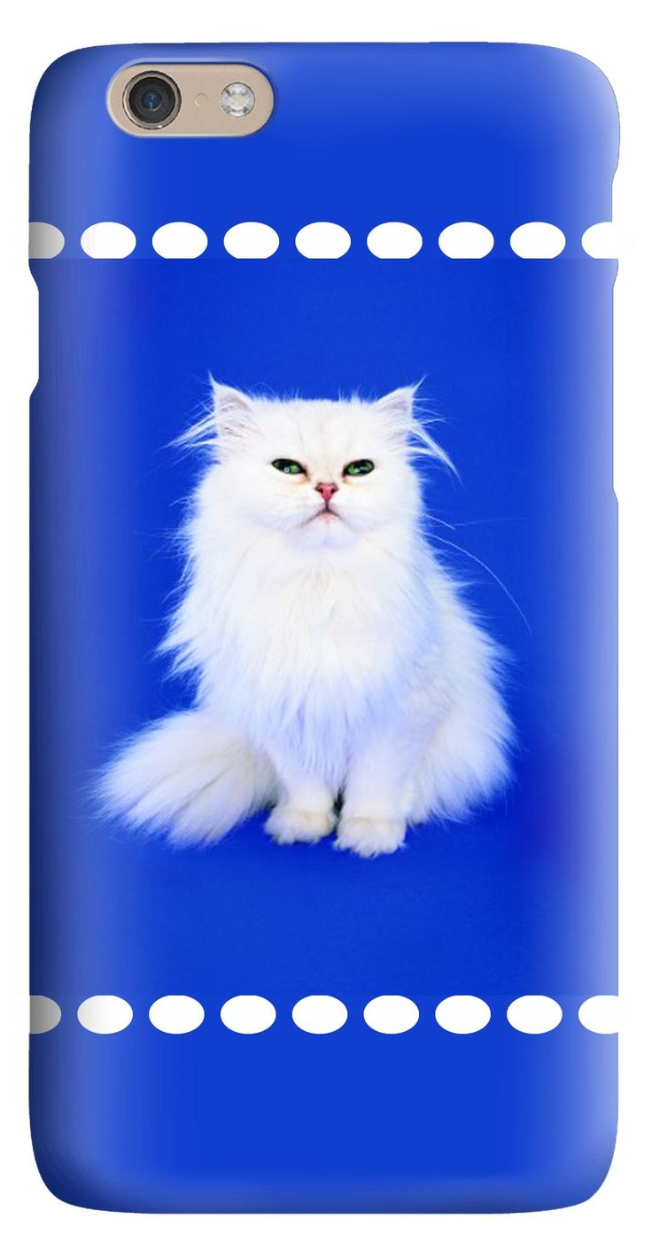 Whatskin DIY Style A White Cat with Blue Background Hard Back Cover for iphone 6