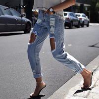 Simplee Повседневная выдалбливают синий деним джинсы капри Винтаж лето отверстие рваные джинсы женский Прохладный boyfriend уличная джинсы брюки