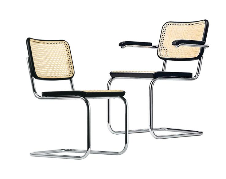 Thonet S 32 & Thonet S 64 El elegante armazón fabricado en tubo de acero, madera y trenzado de mimbre, convierten a la silla S 32 de Marcel Breuer en el arquetipo de la silla confidente tipo patín. Marcel Breuer diseñó la silla Thonet S 32, con asiento trenzado de mimbre, durante su época creativa entre los años 1928 y 1931... http://www.topdeq.es/topdeq/ProductDetail.action?R=8799194316801&N=4235