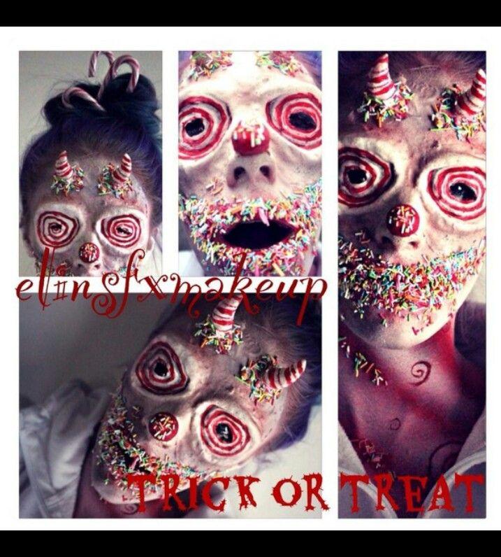 Fx makeup, Halloween, candy, evil clown, special effects, makeup, horns, prosthetics