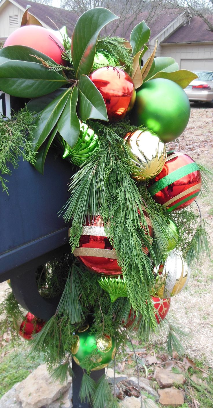 Lots of Bright Colored Ornaments with a mix of greenery - Christmas Mailbox