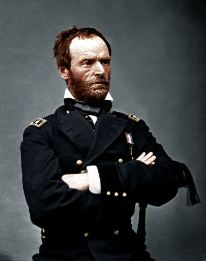 Civil War General William Tecumseh Sherman in color...  Sherman's March to the Sea...   Original Photo in black and whiteWilliams Tecumseh Sherman, American Civil Wars, Colors American, Colors Photos, Civil Wars General, Major General, General Williams, African American History, The Civil Wars