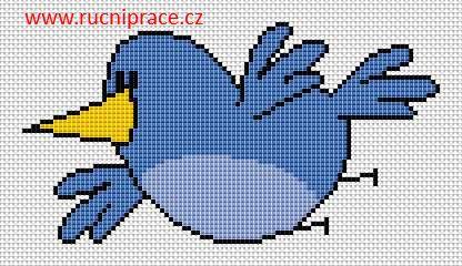 Bird, free cross stitch patterns and charts - www.free-cross-stitch.rucniprace.cz