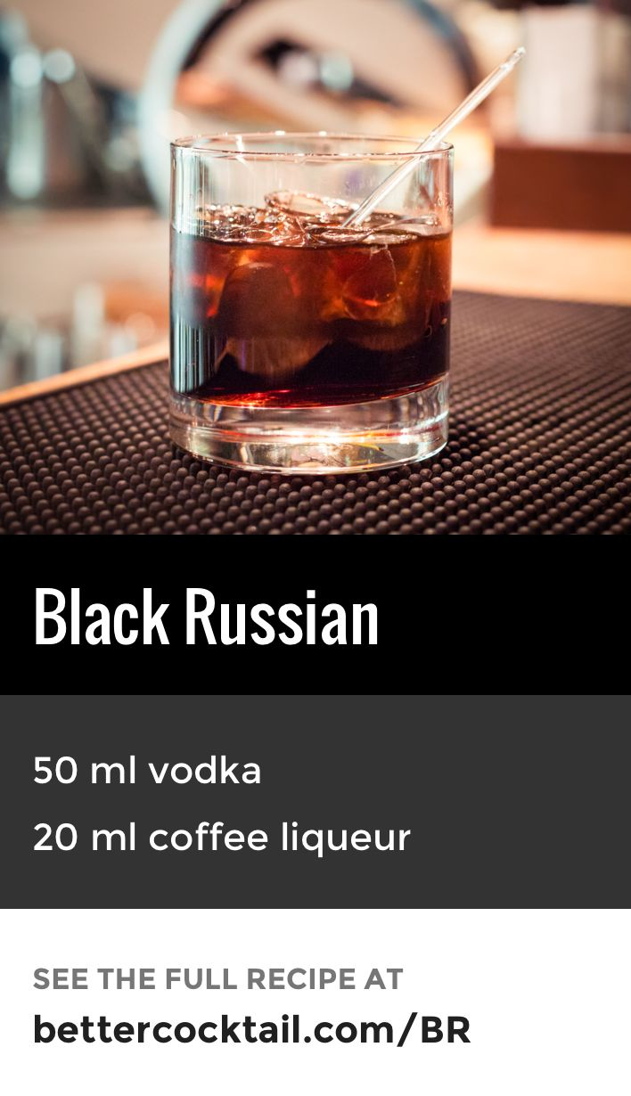 "The Black Russian cocktail is a mixture of vodka and a coffee liqueur, such as Kahlúa. The drink is traditionally served ""on the rocks"" in an old fashioned glass."