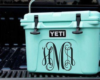 Monogram Vinyl Decal Yeti Cooler Monogram by OZAdesigns on Etsy