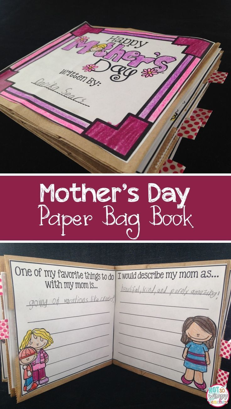 This Mother's Day paper bag book is the perfect gift for students to make for their moms! It's cute, simple and features the students' writing and drawing!