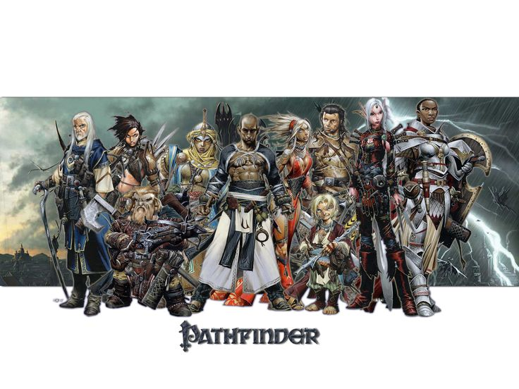 A splash of Pathfinder's core character classes.  This is a good sampling of the the game's wonderful character designs.  The lady in the turban in the background is a cleric.  The bare-chested gentleman front and center is a monk, I believe.  I just adore the halfling bard in the center-right.  And the paladin on the far right has such well-designed armor.  I love this image!  Learn more about Pathfinder at http://paizo.com/pathfinderRPG