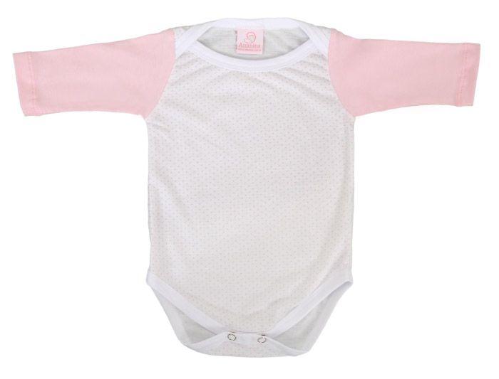 Body feminino rosa e branco com manga longa confeccionado em algodão para bebês de 1 a 3 meses.
