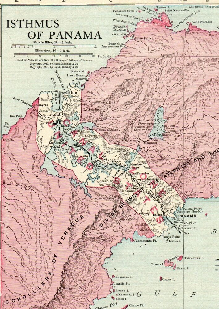 1913 Antique PANAMA CANAL Map Vintage Isthmus Of Panama Map ...