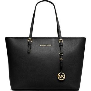 MICHAEL MICHAEL KORS Jet Set Travel medium saffiano leather tote (500 AUD) found on Polyvore featuring bags, handbags, tote bags, purses, michael kors, totes, black, black tote bag, travel totes and black saffiano leather tote!