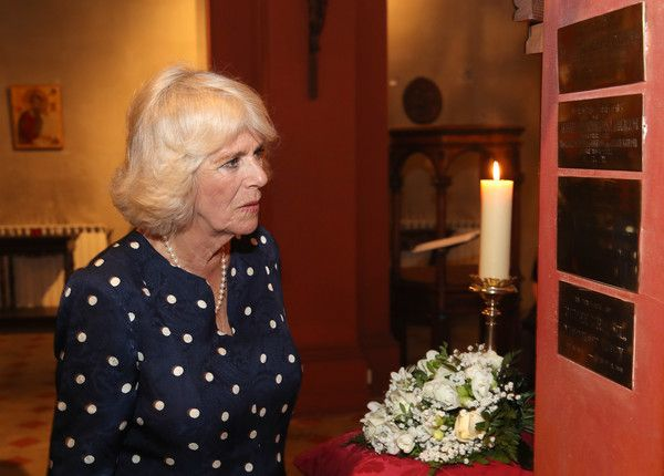 Camilla, Duchess Of Cornwall during a visit to St Mark's Anglican Church, where she lay flowers at a memorial plaque in honour of Alice Keppel, the Duchess of Cornwall's great-grandmother on day three of her tour of Italy on April 2, 2017 in Florence, Italy. - The Prince Of Wales And Duchess Of Cornwall Visit Italy - Day 3