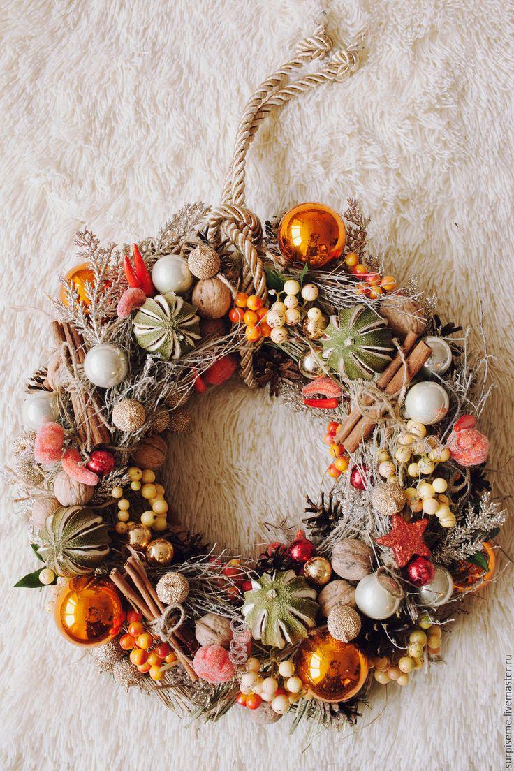 """Купить Новогодний интерьерный венок """"Уютное наслаждение"""" - оранжевый, новогодний подарок, новогодний декор"""