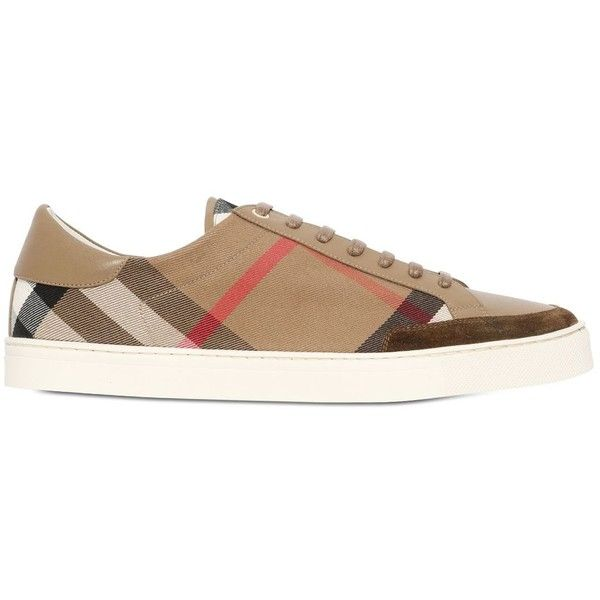 BURBERRY Checked Canvas Sneakers ($475) ❤ liked on Polyvore featuring mens, men's shoes, men's sneakers and camel