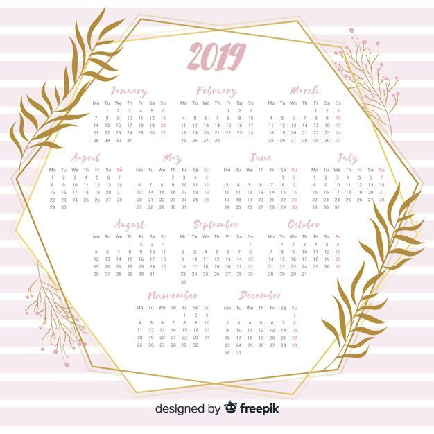 Modern 2019 calendar template with flat design المتجر Pinterest