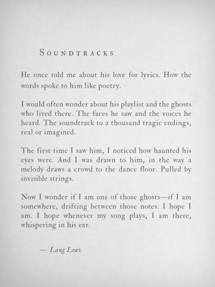 """Lang Leav - """"Soundtracks"""" (from """"Love & Misadventures ... Lang Leav Quotes On Friendship And Love"""