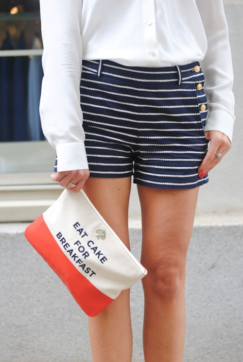 """""""Need these nautical shorts!  So my style!  Women's fashion"""" - Forget the shorts. I need that bag that tells me to eat cake for breakfast."""
