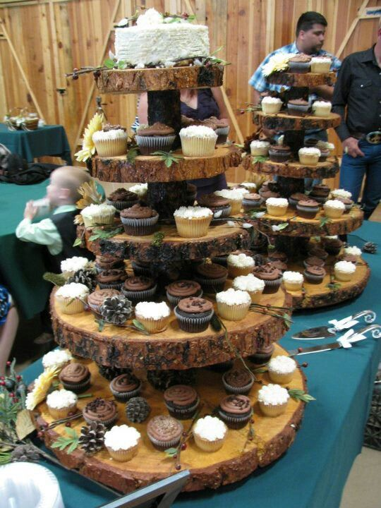Wooden Cupcake Stands at my Forest Wedding. Made by hand by Robert Roush.