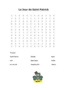Enjoy this fun word search in your French class for St. Patrick's Day.  It is also included as part of our larger download,