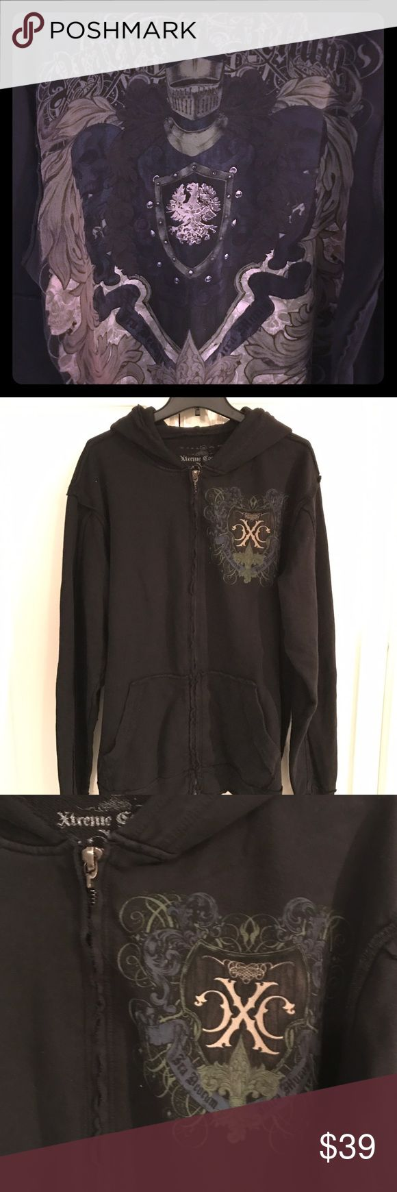 XL men's Extreme couture zip up hoodie Like new without tags, new very cool hooded black zip up hoodie extreme couture Shirts Sweatshirts & Hoodies